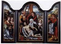 la déposition de croix entre les donateurs tenant les instruments de la passion by master of saint sang