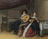 the duet: a self portrait of the artist with his wife, judith leyster, probably their marriage portrait by jan miense molenaer