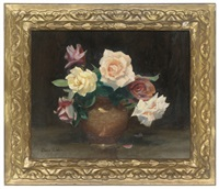 wiltshire roses in a vase by denis quintin fildes