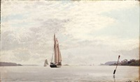 seascape with sailing ships in a fiord by carl (jens erik c.) rasmussen