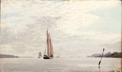 seascape with sailing ships in a fiord by carl jens erik c rasmussen