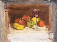 still life - fruit and glass of wine by ian humphreys