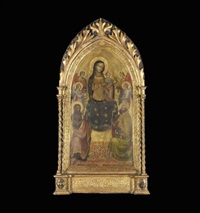 the madonna and child enthroned with angels and saints john the baptist and nicholas of bari by lippo d'andrea (ambrogio di baldese)
