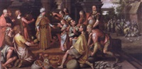 joseph distributing the harvest to the egyptians and benjamin being presented to his brother by nicolas de hoey