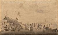 patineurs et villageois sur une rivière gelée; à gauche des villageois se réchauffent près d'une tente by klaes molenaer