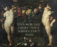 deux putti encadrant une inscription avec une guirlande de fleurs et de fruits by gaspar pieter verbruggen the younger