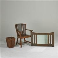 hall mirror; ebon-oak wing chair; waste basket (3 works) by charles limbert