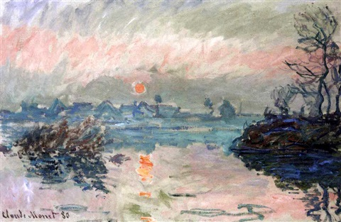 Coucher de soleil à Lavacourt by Claude Monet on artnet