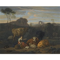 an italianate landscape with a shepherdess looking after livestock by dirk van bergen