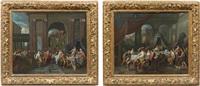 la danse de salomé, le banquet d'antoine et de cléopâtre (2 works) by gerard hoet the elder