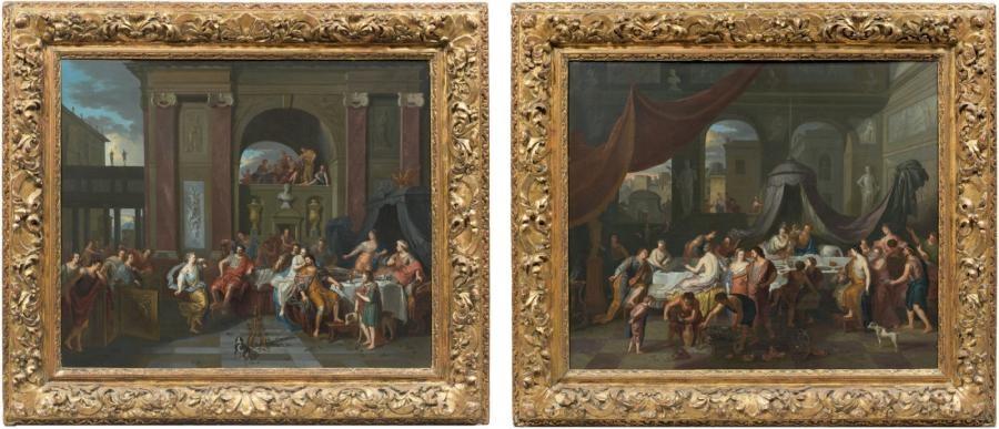 la danse de salomé le banquet dantoine et de cléopâtre 2 works by gerard hoet the elder