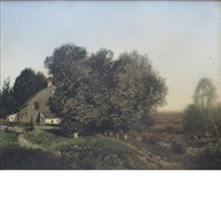 cottage and trees by henry pember smith