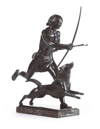 indian hunter and his dog by paul howard manship