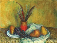 still life with brushes and feathers by hrandt avachian