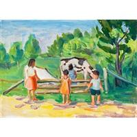 children and cattle (+ a town, verso) by marjorie (jori) elizabeth thurston smith