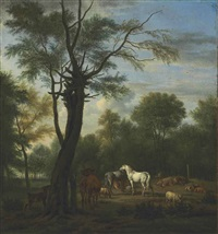 two horses, cows, sheep and goats in a woodland clearing by adriaen van de velde