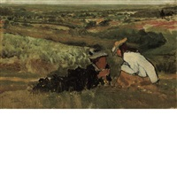 summer hours/study of landscape with figures by sir lawrence alma-tadema