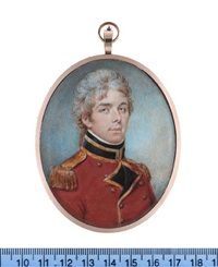 an officer, wearing gold trimmed red coat with black facings and standing collar, gold buttons and epaulettes, white chemise and black stock, his hair powdered by philip jean