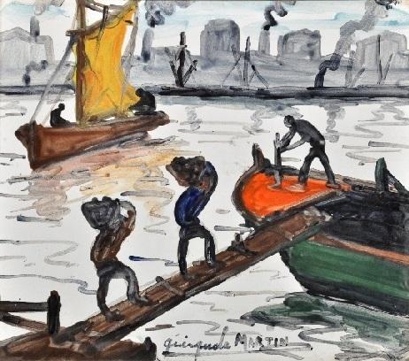 descarga en el puerto by benito quinquela martín