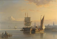 european harbor scene with two ships, one with figures in the foreground and ships and city in the background by egidius linnig