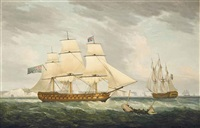 h.m.s. bombay castle, in two positions, in the channel off dover by thomas whitcombe