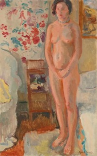 female nude standing in a bedroom by gabriel francisque alexis fournier