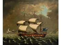 frigate of the blue squadron off the coast by william (of liverpool) jackson