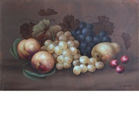 still life with fruit (+ still life with flowers; 2 works) by edwin steele