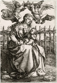 the virgin and child crowned by two angels by albrecht dürer