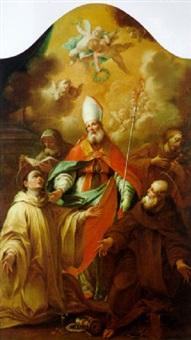 santo vescovo con pastorale, attorniato da quattro santi, di cui uno gli porge un anello, e con un aureola di puttini in alto by giuseppe varotti
