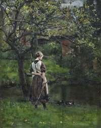 young girl by the mill pond by henry john yeend king