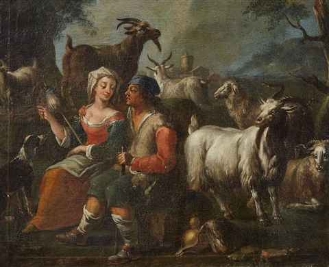 landscape with a pair of shepherds and their herd by philipp peter roos