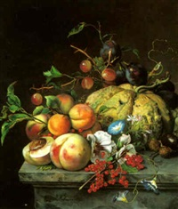 a still life with fruit on a ledge by jeanne marie joséphine hellemans