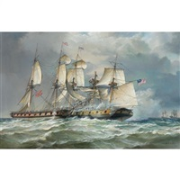 october 1812, the us sloop-of-war wasp, 22 guns, boarding the british brig frolic after a hard-fought running engagement in heavy seas by robert trenaman back