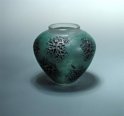 Esterel An R Lalique Green And Black Tinted Glass Vase By Ren