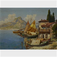 mediterranean fishing boats on the coast by gottfried arnegger