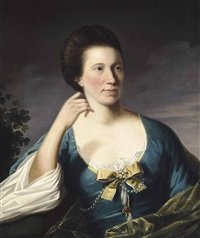 portrait of a lady, half-length, in a blue dress with a yellow bow, in a landscape by joseph wright (of derby)