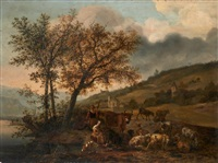 bergers près d'un cours d'eau by hendrick mommers