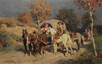 figures and wagon at rest by wilhelm velten