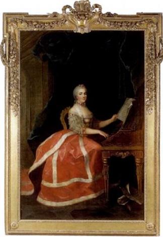 portrait de marie louise thérèse victoire de france dite madame victoire jouant du clavecin by anne baptiste nivelon