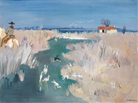 oiseaux à l'étang, camargue by yves brayer