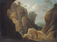travellers resting by a creek in a rocky landscape by thomas van apshoven