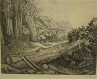une vallée en bourgogne (+ 2 others; 3 works) by alphonse legros