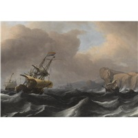 a dutch frigate and other shipping in stormy seas along a rocky coastline by aernout (johann arnold) smit