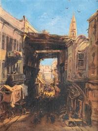 bazaar in cairo by eduard hildebrandt
