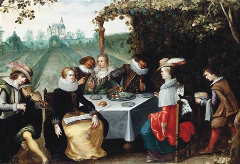 elegant company dining in a garden by louis de caullery