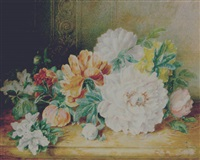 a still life of rodedendron, peonies and other flowers by valentine bartholomew