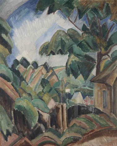 mountaineous landscape near annecy by henri le fauconnier