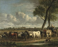 rounding up the cattle by jan van ravenswaay