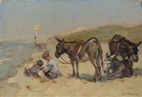 beach scene in scheveningen with donkeys by louis soonius